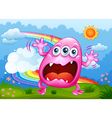 A monster shouting at the hilltop vector image vector image