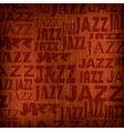 abstract wooden brown background with word jazz vector image