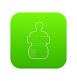 baby bottle with milk icon green vector image vector image