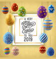 background with hanging on ribbons painted eggs vector image vector image
