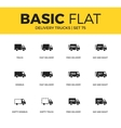 Basic set of Delivery trucks icons vector image vector image