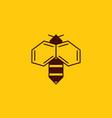 bee logo on honey background bee logotype vector image vector image