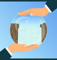 businessman holding glass bowl with waterfall vector image