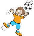 Cartoon Girl playing soccer vector image vector image