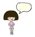 cartoon sly woman with speech bubble vector image vector image