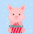 christmas card portrait pink pig with gift box vector image vector image