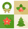 christmas ornament flat design with long shadow vector image vector image