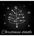 Christmas tree in doodle style vector image vector image