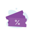coupon promotion sale icon vector image vector image