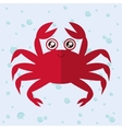 Crab cartoon over bubbles background vector image