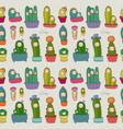 cute cartoon cactus and succulents in pots vector image vector image