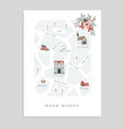 cute christmas greeting card invitation with map vector image vector image
