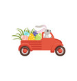 cute little bunny driving vintage truck with vector image vector image