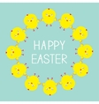 easter chicken round frame baby background flat vector image vector image