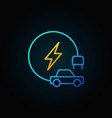 electric vehicle colorful line icon on dark vector image
