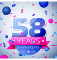 Fifty eight years anniversary celebration on grey vector image vector image