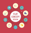 flat icons rocket golf ice boot and other vector image vector image