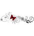 floral pattern with red butterfly vector image vector image