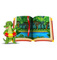 forest scene in the book and crocodile vector image