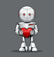 funny kid robot with a heart in his hand vector image vector image