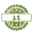 grunge textured 11 stamp seal vector image vector image