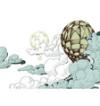 hot air balloons in the clouds sky background vector image vector image