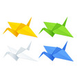 isometric colorise set origami paper cranes on vector image