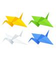 isometric colorise set origami paper cranes vector image