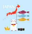 japanese lucky cat holding three fishes and japan vector image