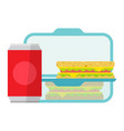 lunch in a container plastic food box vector image vector image
