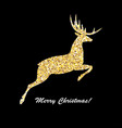 merry christmas and happy new year golden deer vector image vector image