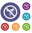 no wasp sign icons set vector image vector image