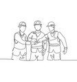 one line drawing young builder and architect vector image vector image