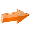 orange arrow web 3d shiny icon vector image vector image