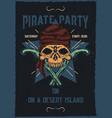 pirat skull with guns vector image vector image