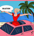 pop art woman standing in a car sunroof vector image vector image