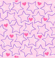 seamless star heart pattern vector image vector image