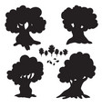 set of cartoon trees silhouettes isolated on vector image