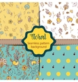 Set of Floral vintage seamless pattern collection vector image vector image