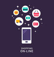 Shopping Online Concept Flat Style and Icons vector image