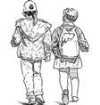 sketch two little girls walking down street vector image vector image