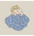 Sleeping angel on cloud hand drawn vector image vector image