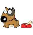 Smiling Brown Bull Terrier Dog With Bowl And Bone vector image vector image