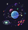 space background with glossy planets stars vector image