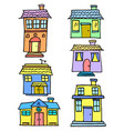 vetor house colorful set vector image vector image
