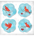 Winter Christmas Sticker Birds Rowan Tree Branches vector image vector image