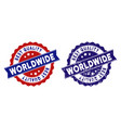 worldwide best quality stamp with grungy style vector image