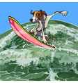 cartoon dog surfer on a wave vector image