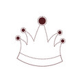 king crown in brown dotted silhouette on white vector image