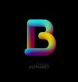 3d iridescent gradient letter b vector image vector image